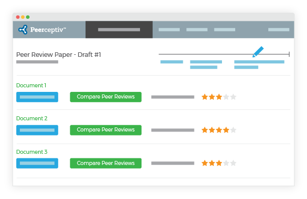screenshot of review to-do list in the peer learning tool